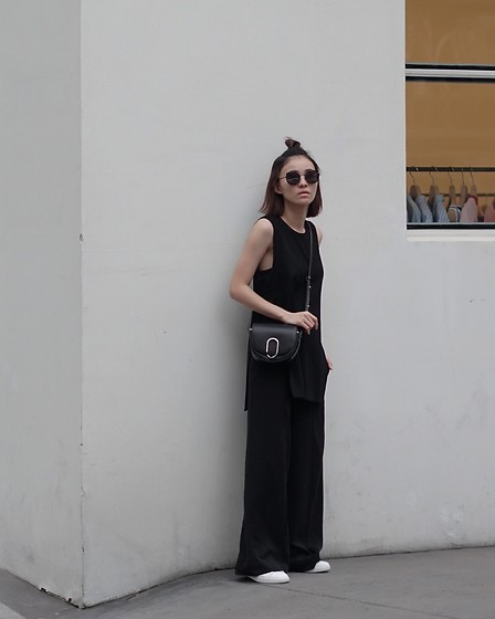 Kay Lai - Gentle Monster Sunnies, Hemsmith Top, 3.1 Phillip Lim Crossbody, Cos Trousers, Vince Sneakers - ⚫️