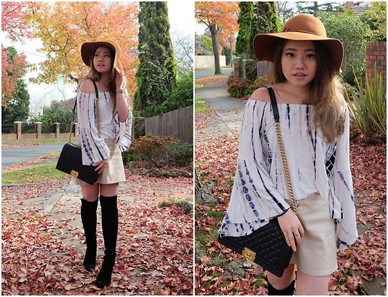 Eliza Tanudjaja - Shein Water Color Boat Neck Bell Sleeve Top, Chanel Boy, Stuart Weitzman Knee High Boots - Autumnal Bell