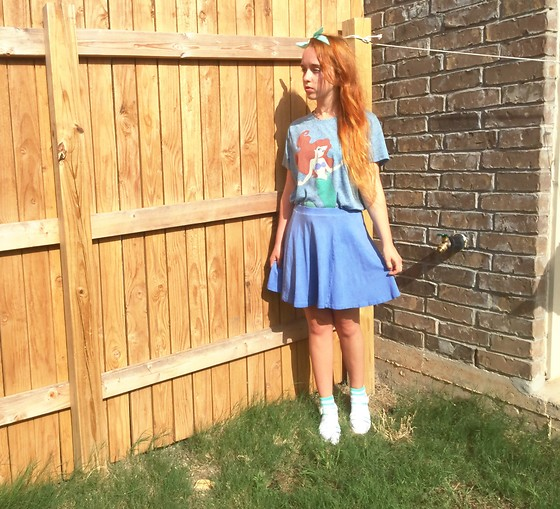 Emily Elizabeth - Savers Princess T Shirt, H&M Blue Skirt, Amazon Jellies, Target Striped Socks, Walmart Teal Bandanna - Up Where They Walk, Up Where They Run ?