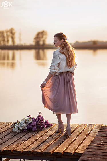 Juliette Jakubowska -  - Lilac, tulle midi skirt and sweater