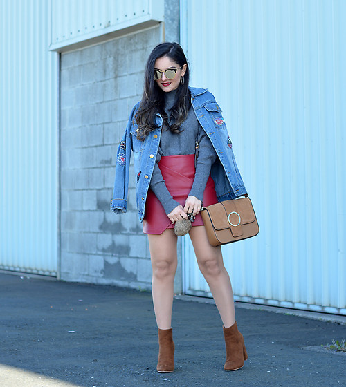 Alba . - Shein Jacket, Justfab Boots - Red skirt