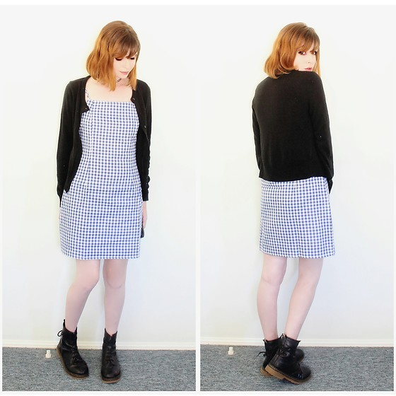 Rachel-Marie - Unbranded Tattoo Choker, Kmart Black Button Through Cardigan, Romwe Blue Gingham Print Cami Dress, Unbranded Black Lace Up Martin Boots - Black and Blue