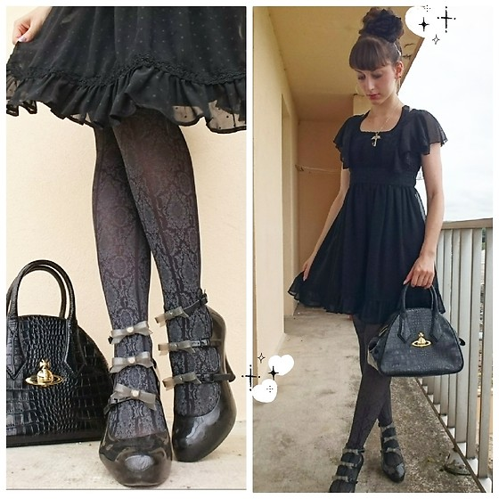 Yumi E.G. - Liz Lisa Chiffon Dress, Vivienne Westwood Croco Bag, Vivienne Westwood Anglomania 3 Straps - Take a break