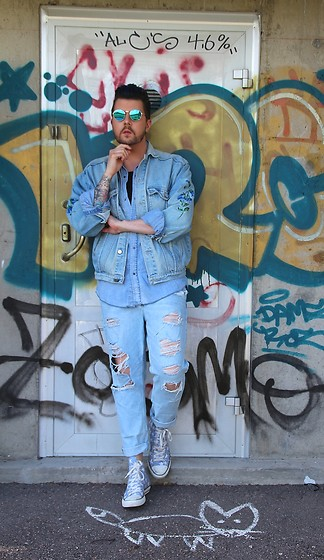 Joni N. - Converse Shoes, H&M Jeans, H&M Denim Shirt, Vintage Denim Jacket - DOUBLE DENIM