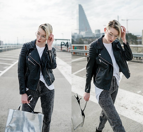 BEHINDHERMASK - H&M Leather Jacket, Zara Mom Jean - Mom jeans and leather jacket