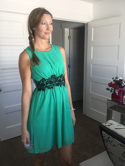 Cindy Batchelor - Amazon Green Tank Dress With Black Lace Waist - Green tank Dress with Black Lace Waist