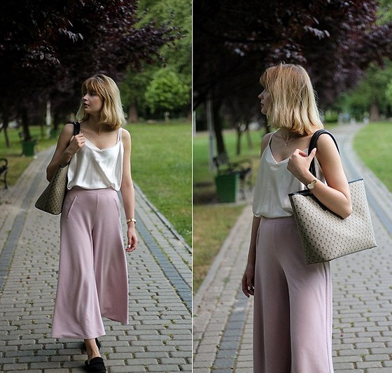 Martyna Lupa - H&M, Bershka, Vintage - White silk and pink pants