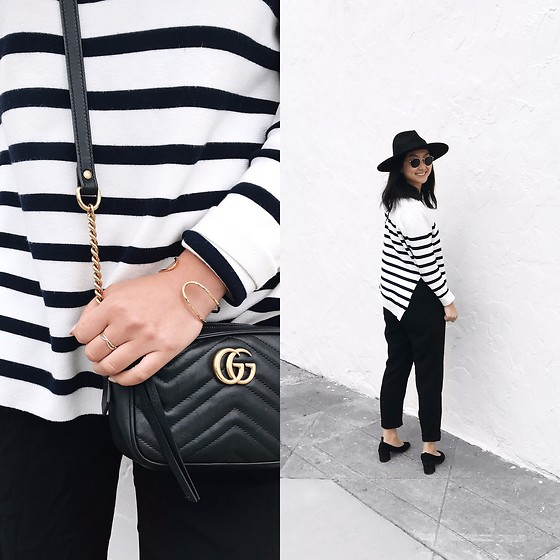 Tiffany Wang - Zara Sweater, Zara Pants, And Other Stories Heels, Brixton Hat, Gucci Bag, Gorjana Bracelet - STRIPES