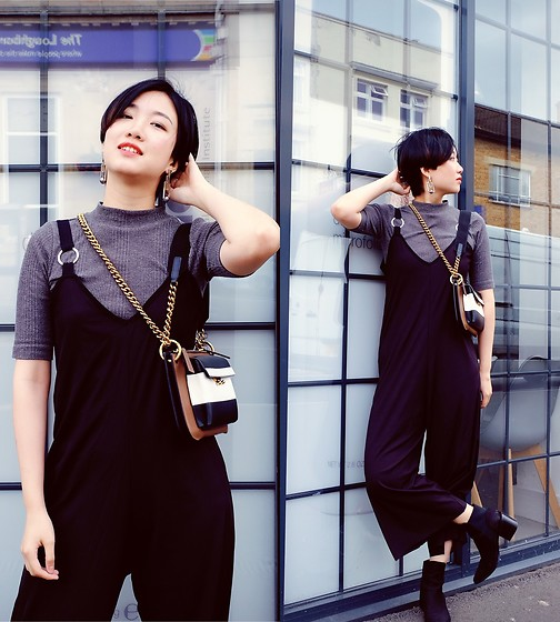 Yueming - Mango Jumpsuit, Marni Bag - Black Jumpsuit