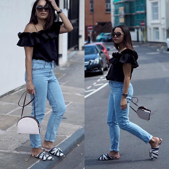 Lauren Francine Campbell - Topshop Adele Bow Slip On, Primark Mom Jeans, Zara Multicoloured Crossbody Bag, Romwe Cold Shoulder Flounce Trim Top, Fendi - The Statement Ruffle