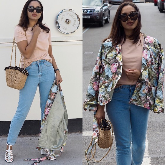 Lauren Francine Campbell - Zara White Leather Block Heel, Primark My Jeans, H&M Floral Kimono, Zara Basic T Shirt, Céline Celine Audrey Sunglasses, Zara Pompom Basket Bag - Basic T-Shirt & Statement Jacket