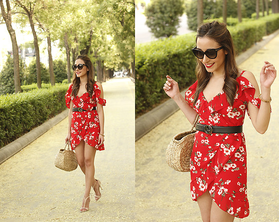 Besugarandspice FV - Gucci Belt, Tom Ford Sunnies, Shein Dress - Red Flower Dress