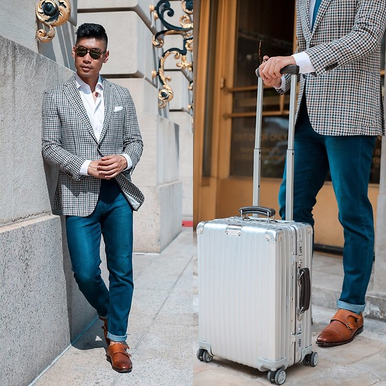 Leo Chan - Rimowa Topas Titanium Suitcase, Peter Millar Check Wool Sports Coat, Gordon Rush Leather Monk Strap Dress Shoes, Persol Tortoise - DC Travel Style