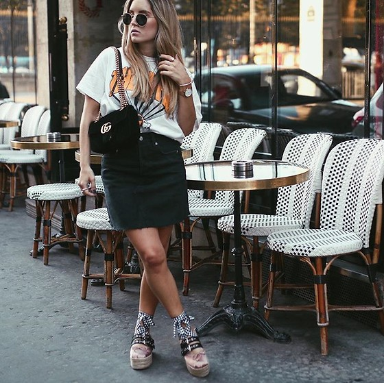 Fashiontwinstinct - H&M Denim Skirt, Miu Platforms, Gucci Velvet Bag - Parisian Café x Miu Miu Platforms.