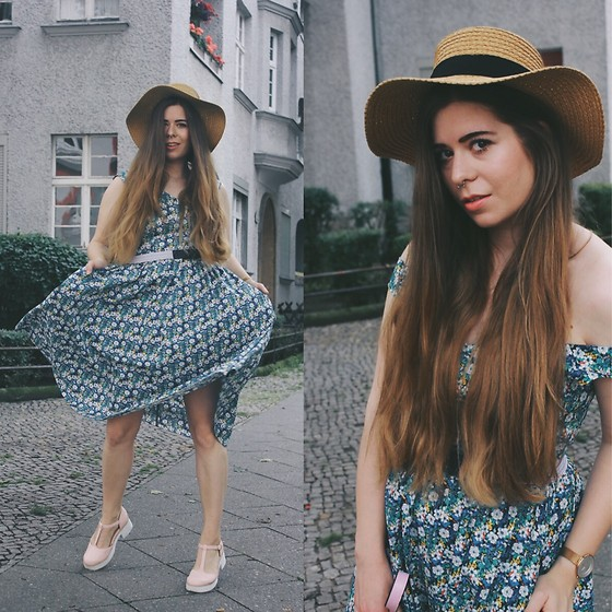 Elaine Hennings - Esprit Dress, Asos Heels, Skagen Denmark Watch, H&M Hat - Bold Blooms