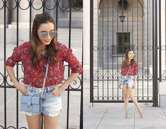 Besugarandspice FV - Metisu Blouse, Uterqüe Bag, Zara Shorts - Red Flower Blouse