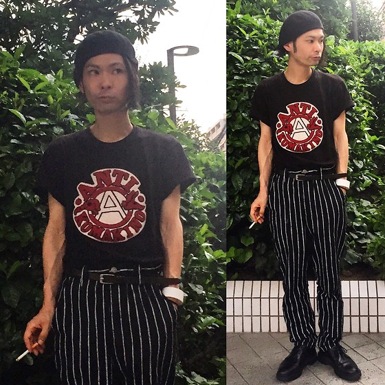 @KiD - Komakino Anarchy Tee, Dogpile Striped Pants, Dr. Martens 3hole Shoes, Funk Plus White Bracelet - Japanese Trash168