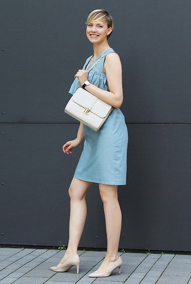 Sabine K - Lauren Ralph Handbag, Hugo Boss Heels - DIY Volant Dress