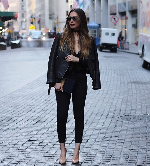 Alyssa Melendez - Quay Sunglasses, Bodysuit, Leather Jacket, Cropped Pants, Nude Pumps - Street Style: Back in Black