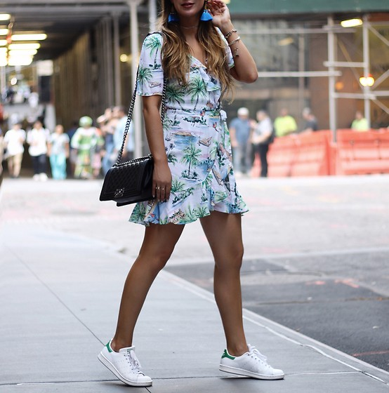 Alyssa Melendez - Wrap Dress, Purse, Stan Smith Sneakers - Street Style: Getting Tropical