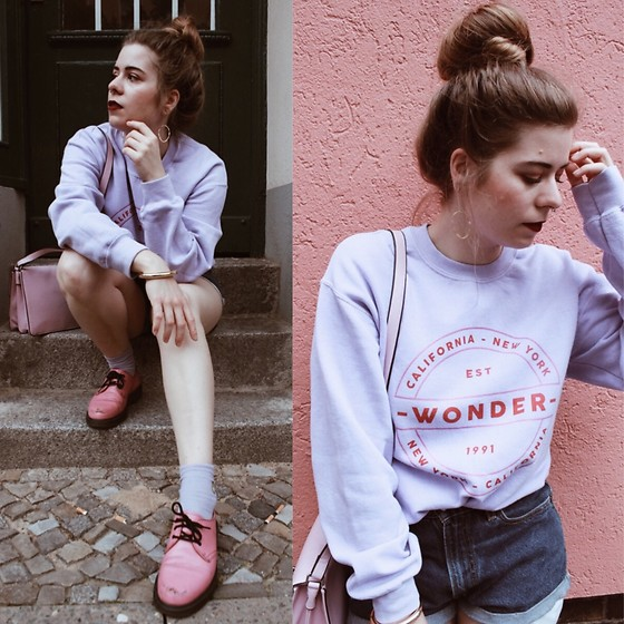 Elaine Hennings - Dr. Martens Boots, Asos Bag, Urban Outfitters Jumper, Levi's® Shorts, Pilgrim Earrings - I See Pink All Around Me