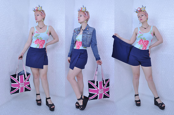 Suzi West - Sharla Tv Plushie Fascinator, Suzi West Model Donut Earrings, Shantel Niblock Bat Necklace, Joy Jean Embroidered Denim Jacket, Abercrombie & Fitch Floral Top, Express 1990s Skort, Victoria's Secret Pink Union Jack Tote, Charles David Platform Sandal - 19 April 2017