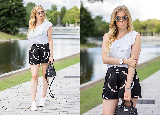 Sunnyinga - New Look Volant Shirt, Cameo Collective Shorts, Michael Kors Bag, New Look Sneaker - Volant Shirt x Summer Shorts