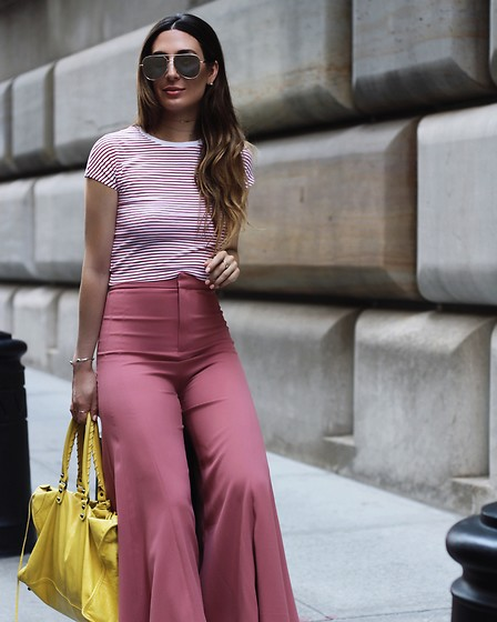 Alyssa Melendez - Red&White Striped Top, Flowy Pants, Yellow Purse, Quay Sunglasses - Street Style
