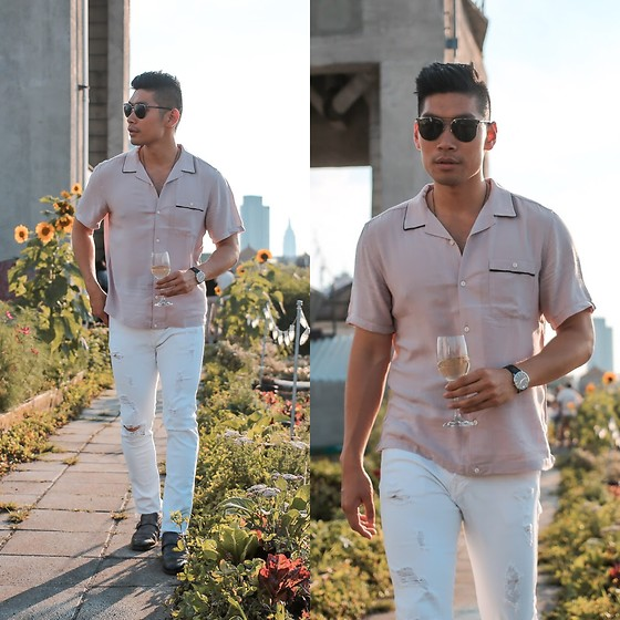 Leo Chan - Asos Silk Polo, Versace Sunglasses, True Religion Ripped Jeans, Movado Watch, Dolce & Gabbana - Rooftop Summer Style