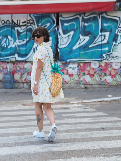 Fashionella ♥ - Shein Banana Dress, Adidas White Sneakers - Banana Dress