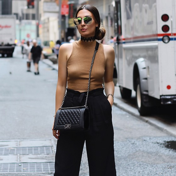 Alyssa Melendez - Knit Sweater, Pants, Chanel Purse, Quay Sunglasses - Street Style