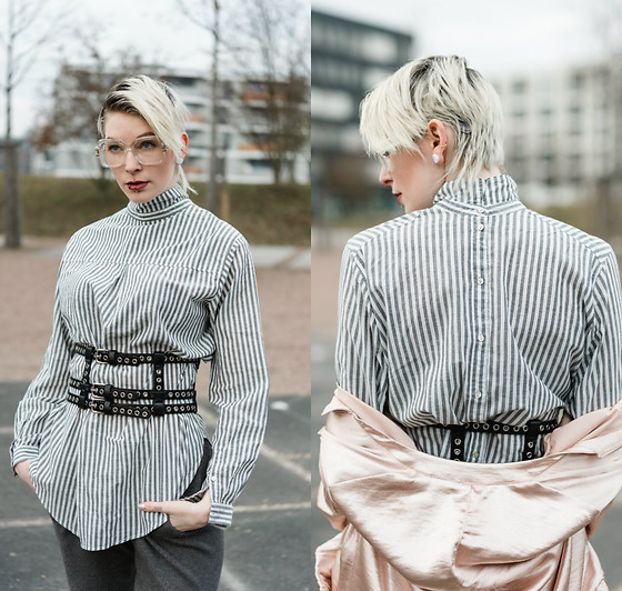 BEHINDHERMASK - H&M Striped Blouse, Missguided Corset Belt - The backwards look with corset and knitwear
