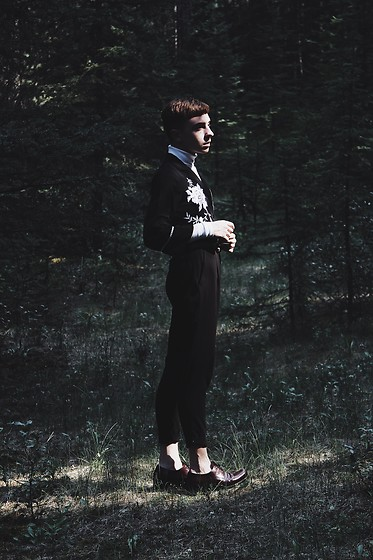 Paul Conrad Schneider - Oak And Fort Turtleneck, Zaful Embroidered Blouse, Oak And Fort Trousers, Prada Oxfords - A boy in the woods. @paulconradschneider