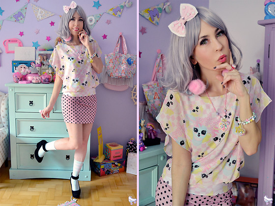 Luly Pastel Cubes - Follow The White Rabbit Top, Oh Candy Store Pompom - Polka Bunny