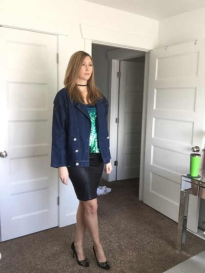 Cindy Batchelor - Amazon Oversized Denim Jacket $28, Amazon Faux Leather Pencil Skirt $15, Amazon Green Sequin Camisole $14 - Denim Jacket, Faux Leather Skirt, and Green Sequin Camisole