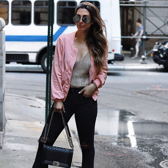 Alyssa Melendez - Pink Bomber, Bootleg Denim Pants, Chanel Purse, Quay Sunglasses, Crochet Crop Top - Street Style