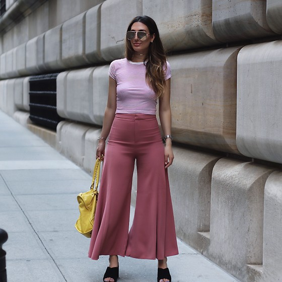 Alyssa Melendez - Crop Top, Flowy Pink Pants, Yellow Purse, Quay Sunglasses, Slip On Heels - Street Style