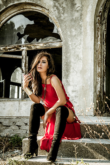 Aevoulette Benssalconia - Koton Red Dress, Butik Selection Boots Over Knee, Made In Greece Jewelry - Red World Rebirth
