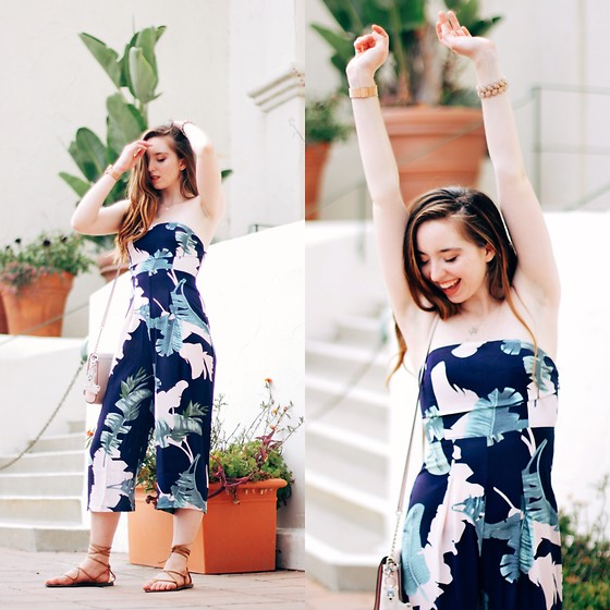 The Indie Girl Fleming - Zaful Palm Print Jumpsuit - Waking Up In Paradise