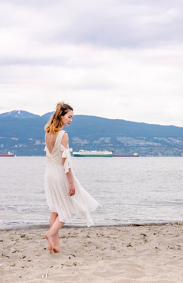 Arielle - Free People Love It Midi Dress - White Dress on the Beach