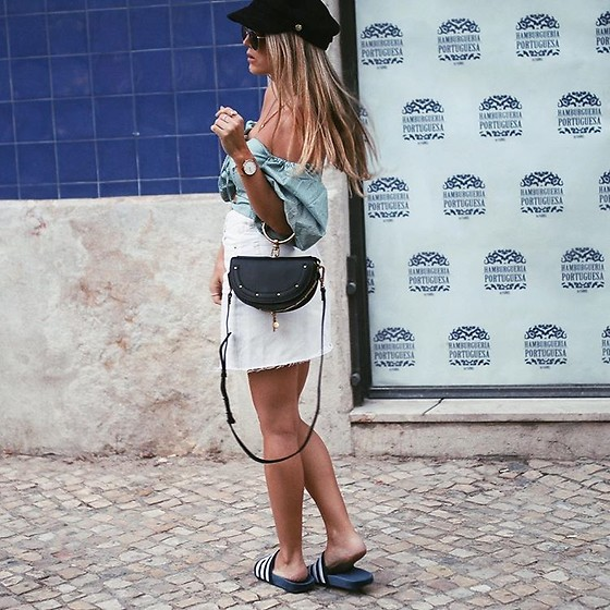 Fashiontwinstinct - Adidas Adilettes, H&M Denim Skirt, Tally Weijl Baker Boy Hat - Baker Boy Hat & Off Shoulder in Lisbon.