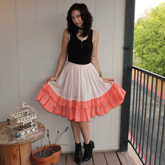 "Michelle Blue - Vintage Skirt - ""I Wish We Were All Rose Colored Too"""