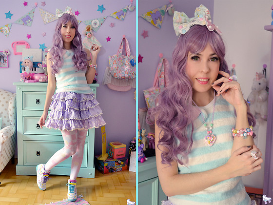 Luly Pastel Cubes - Follow The White Rabbit Heart, Bodyline Polka Dots, Reebok Color - Ice Cream
