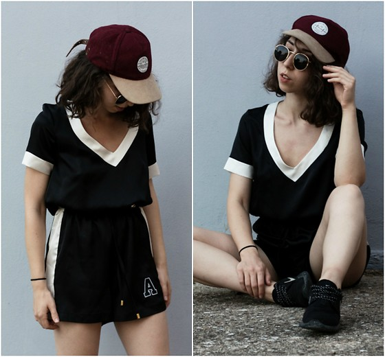 Theoni Argyropoulou - Pull & Bear Baseball Cap, Sunglasses, Satin Romper, Nike Sneakers - Sporty Vibes on somethingvogue.com