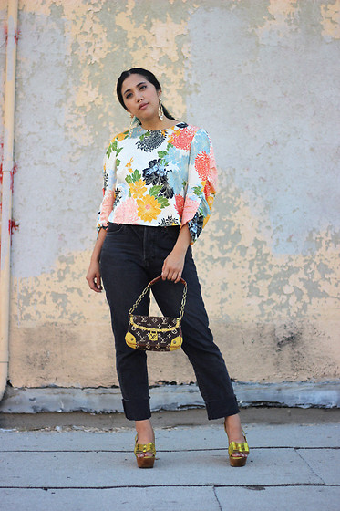 Yuka I. - Floral Blouse, Jeans, Gold Platform, Louis Vuitton Bag - Bloom
