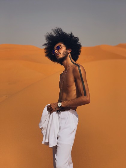 Marco Moura - Maroccan Pants, Asos Watch, Zara Sunglasses - White plus orange