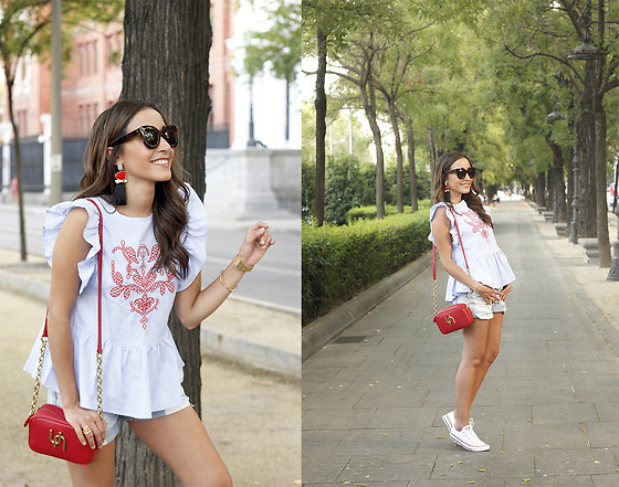 Besugarandspice FV - Shein Top, Uterqüe Bag, Zara Earrings, Céline Sunnies, Converse Sneakers - Striped Blouse