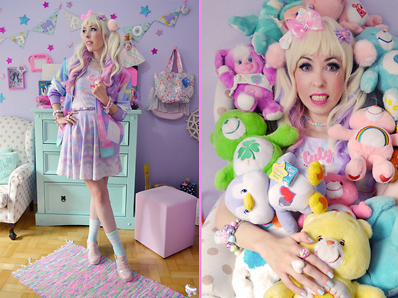 Luly Pastel Cubes - Holley Tea Time Dress, Like Totally Jacket, Petite Jolie Jelly, Sweet Spirits Bow - Cotton Candy neon