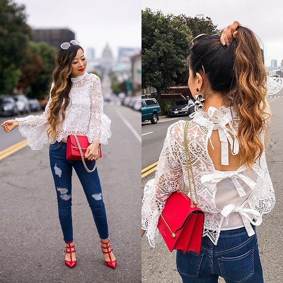 Sasa Zoe - Top, Bag, Jeans, Earrings, Sunglasses, Heels - ALL ABOUT THAT BOW KNOT