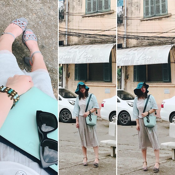 Lan Chi Vu - Charles And Keith Sandals, Gentle Monster Dreamerhoff, Lyn Around Kimono Cardigan, Zara Midi Skirt, Chez Vu Amie Bag - Mint your day